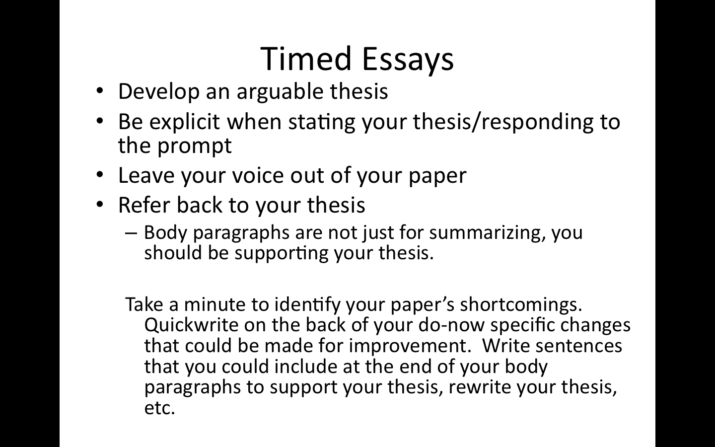10th english the metamorphosis timed essay debrief