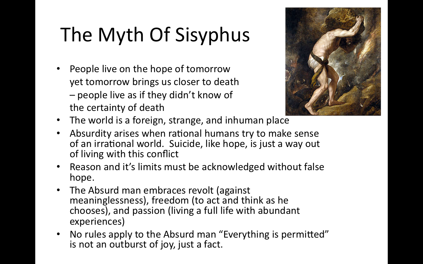 the myth of sisyphus essay questions